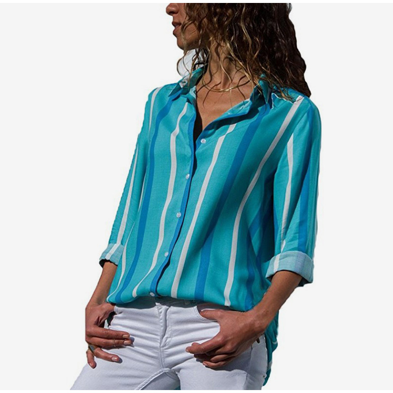 Plus Size Rainbow Striped Feminine Female Blouses Long Sleeve Turn Down Collar Button Women Shirts 2019 Fashion Loose Tops 5XL in Blouses amp Shirts from Women 39 s Clothing