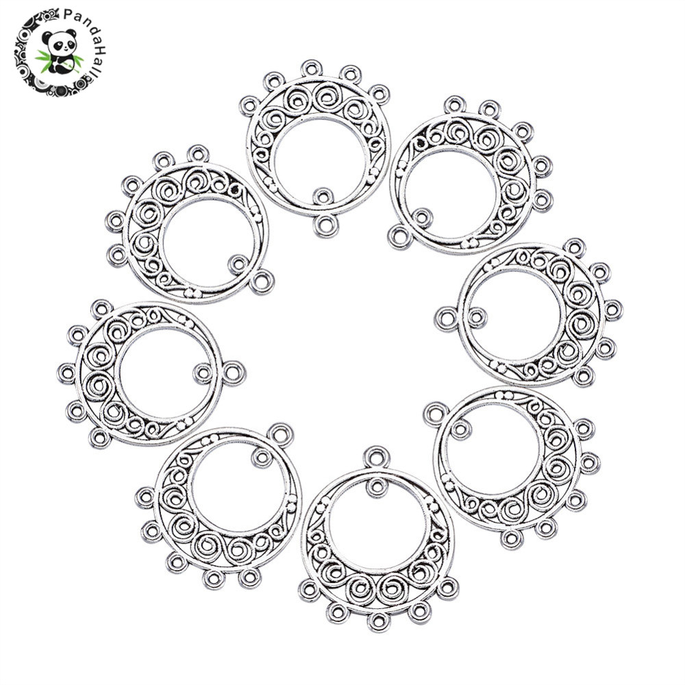 200PCS Alloy Dangle Link Pendants Charms For Bracelet Jewelry Making Flat Round