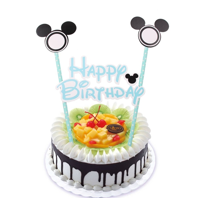 Mickey Head Happy Birthday Cupcake Topper Bunting Flags Picks Kids Birthday Party Wedding Baby Shower Cake Baking Decoration