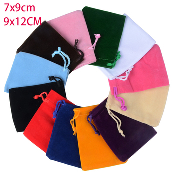 10 unids/lote 7x9cm 9x12cm bolsas de terciopelo coloridas exhibición de embalaje de joyería embalaje con cordón bolsas y bolsas de regalo
