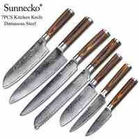 SUNNECKO Chef Knife Damascus Steel Japanese VG10 Kitchen Knives Set Pakka Wood Handle Slicing Utility Paring Bread Santoku Knife
