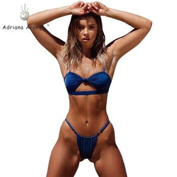 Adriana Arango 2019 traje de baño mujer lazo Bandeau Bikini sólido blanco pecho hueco brasileño Tanga Bikini verano ropa de playa