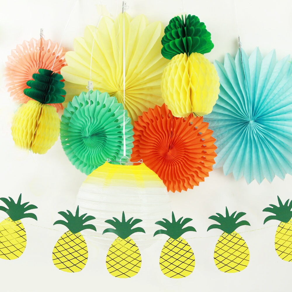 Set of 9 Summer Party Decoration Kit( Lantern,Paper Fans,Pineapple Garland) Tropical Hawaiian BBQ Beach Luau Birthday Pool Party
