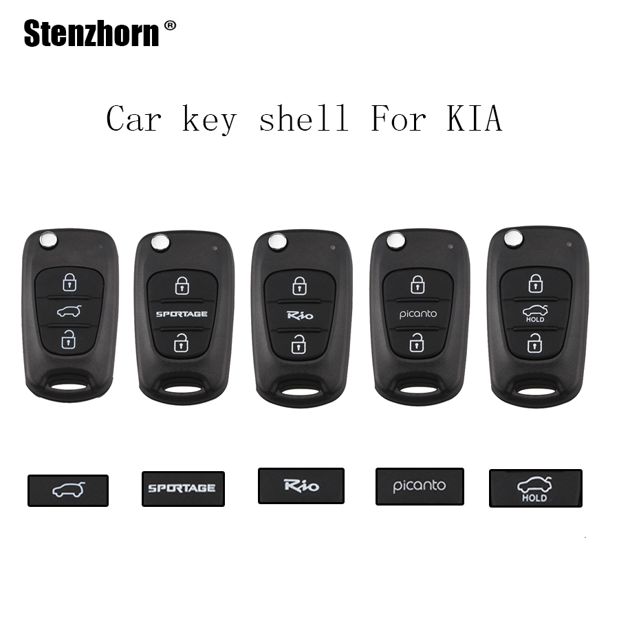 Stenzhorn 3Buttons Uncut Blade TOY40 Car key shell Case For KIA K2 K5 Rio Piconto Sportage 2006-2013 NO logo maizhi 3 button flip folding car key shell for hyundai avante i30 ix35 kia k2 k5 sorento sportage key cover case styling