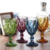 4 Pcs Set 330ml Multicolour Relief Red Wine Glass Cup Engraved Prism High Foot Glass Cup