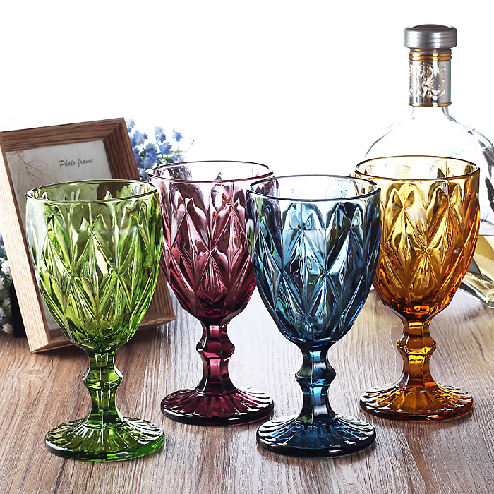 4 pcs set 330ml Multicolour relief red wine glass cup Engraved Prism assorted color footed goblets Cocktail Glass Whiskey Cups