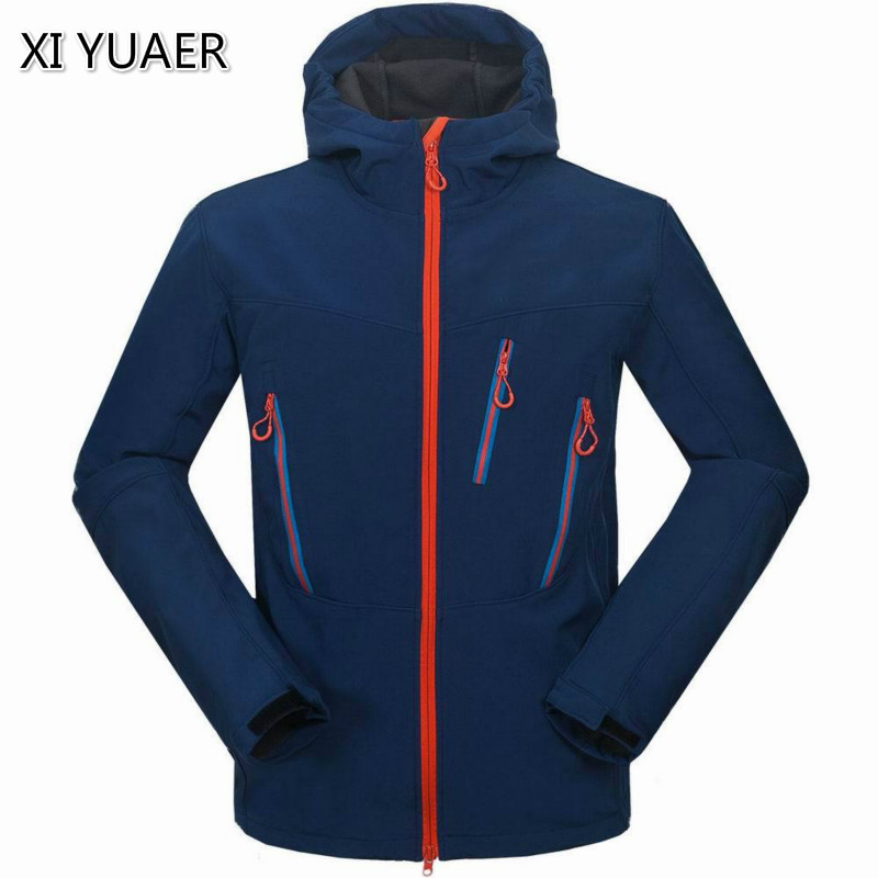 цена на 2018 New Softshell Jacket Men's Windstopper Waterproof Hiking Jackets Outdoor Thick Winter Coats For Trekking Camping Ski 7009