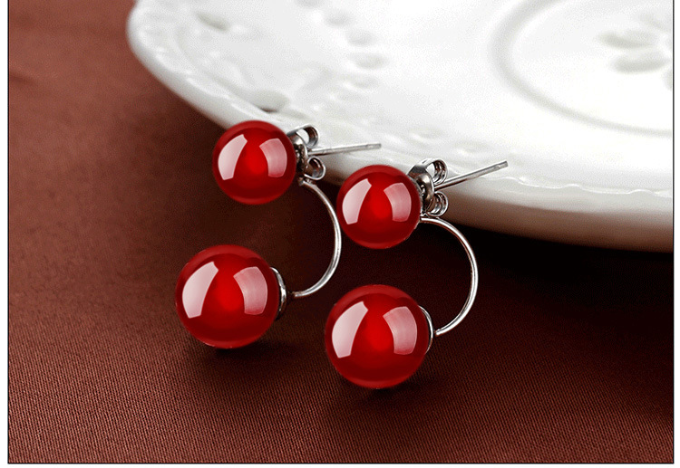 new 925 sliver 8mm red Crystal Jewelry Moon River Rhinestone Earrings (1pair) earring Ohrringe