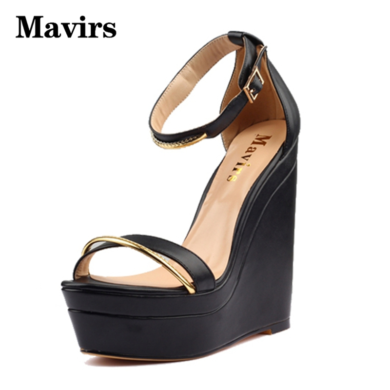 Mavirs 2017 Summer Sexy Platform Wedges High Heels Women Sandals Large Size Ankle Strip Sequined Lace Up Brand Black Sandals phyanic 2017 summer women sandals platform wedges sandals hook