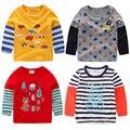O menino T-shirt de manga comprida 2017 primavera nova primavera crianças jaqueta bebê criança meninas camisa 7513