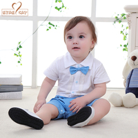 NYAN CAT Baby Boys Infant Toddler Kids Summer Clothes Romper Gentleman Bow Tie Black Blue Jumpsuit