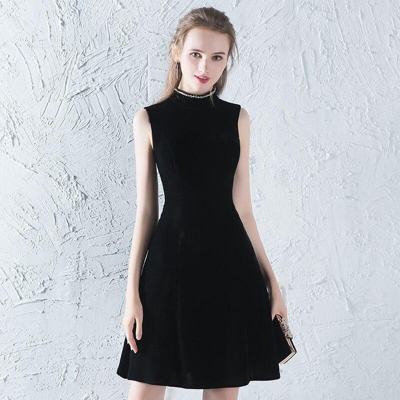 Vintage Short Prom Dresses 2019 Fashion Vestido De Festa Women Formal A Line Party Gowns For Women Velour Black Prom Dress Gown