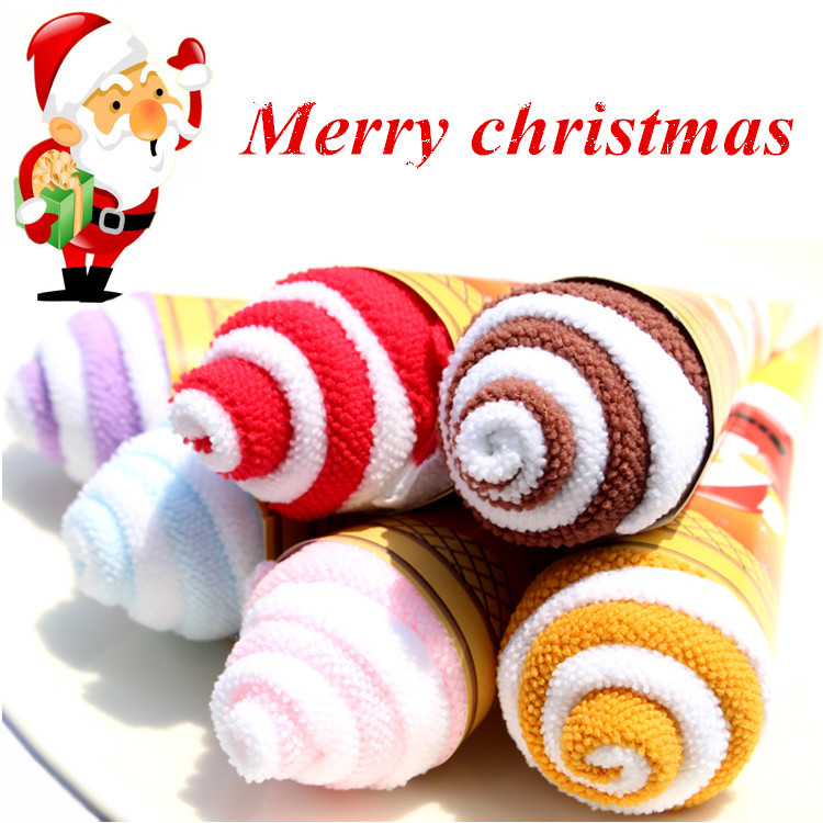 Portable Shaped Ice Cream Towels Double Color christmas Towel Christmas Decoration for Home Table Holiday Party Gift Supplies