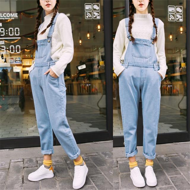 6e9e9d3ac72b Vintage Dark Blue Jeans Jumpsuits Slim Pencil Jeans Denim Overalls All  Match Adjustable Strap Jumpsuits Slim