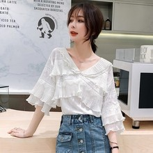 купить 2XL Womens Shirts Ladies V Neck Blouses White Chiffon Top Office Long Sleeve Blouse Womens Clothing Beach Kimono онлайн