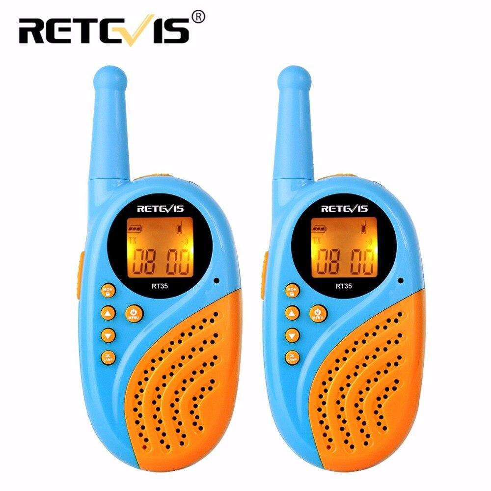 2 pcs Talkie Walkie Mini Enfants Radio Retevis RT35 0.5 w 16/22CH UHF PMR Numérique Horloge Réveil USB Charge PMR446 Enfants Cadeau