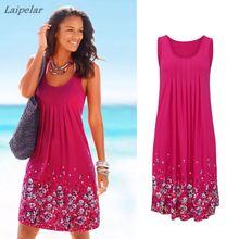 Bodycon Women Summer Boho T Shirt Print Floral Sleeveless Tank Dress Black Rose Blue Fold High Waist Beach Sarongs Tunic