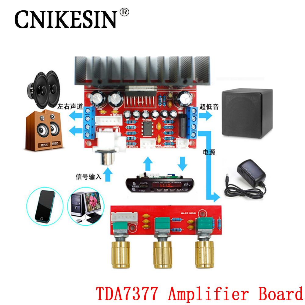 CNIKESIN diy TDA7377 amplifier board Single Power Computer Super bass 3 Channel Sound and 2 1