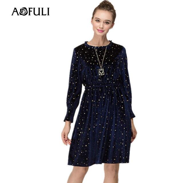 AOFULI L- XXXXL 4XL Plus size dress Spring New 2018 Women Long sleeve  Elastic Waist A-line Star Printed Blue Velvet Dresses 4e7ddf30ff8d