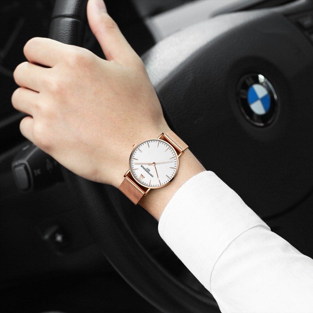 ONTHEEDGE ultra thin watch Men Waterproof Watches Men Top Luxury Brand Casual Stainless steel Mesh Band wristwatch husband gift