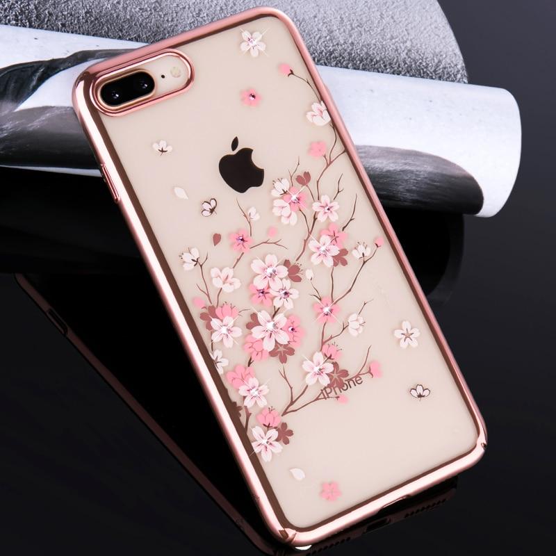 f95b37d84 KINGXBAR for iPhone 8 7 Plus Case Crystals from Swarovski Flower Rhinestone  Hard Transparent Case for iPhone 7 8 Plus Cover Capa-in Rhinestone Cases  from ...
