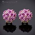 IYOE Bohemian Style Champagne Crystal Ceramic Rose Flower Earrings Gold Plated Fashion Clip Earring Women Fine Bijoux