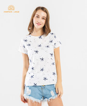 Blue Star Slim Fit Elegant Women T Shirts 2019 Summer Cotton High Quality Kawaii Top Brand Short Sleeve K-pop T-Shirt For Lady(China)