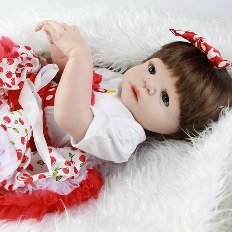 Lovely Reborn Babies Doll Full Silicone Vinyl 23 Inch/ 58cm Realistic Baby Alive Doll Fashion Newborn Girl Dolls sleeping realistic baby doll reborn 20 inch newborn full silicone vinyl alive babies dolls with leopard dress kids playmate page 5