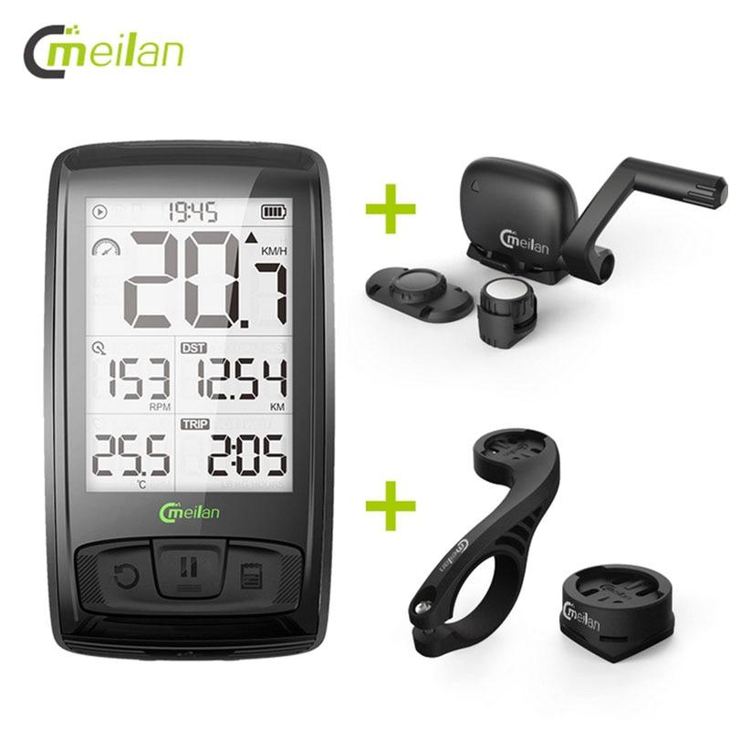 Meilan M4 Wireless Bike Computer Bicycle Speedometer Tachometer cadence Speed Sensor Bluetooth Waterproof Heart Rate Monitor sunding bluetooth 4 0 waterproof wireless combo cadence sensor