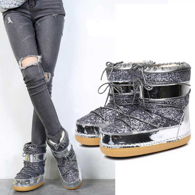 3a6156f74d6 Fashion Women Space Boots Lace Up Inside Warm Ankle Boot Casual winter  boots Snow Boots Shoes Work Safety Sequins Shoes Women k6