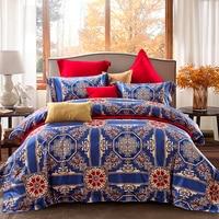 2018 New Egyptian cottton Bedding Set Bohemia Bedclothes 4pcs Duvet Cover Sets Boho Queen King Size Soft Bed Linen