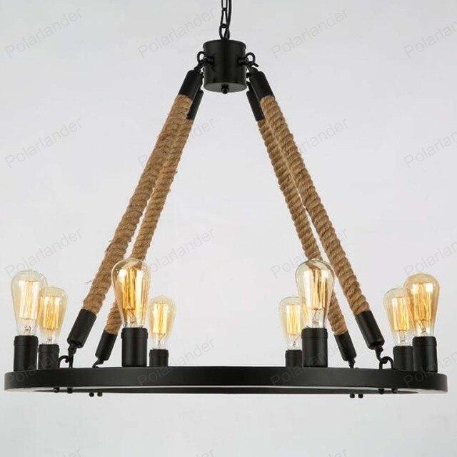 Retro Kronleuchter Personalisierte Eisen Pendelleuchte 8 Köpfe Runden Tisch  Hanfseil Kronleuchter Schlafzimmer Esszimmer Hause Beleuchtung