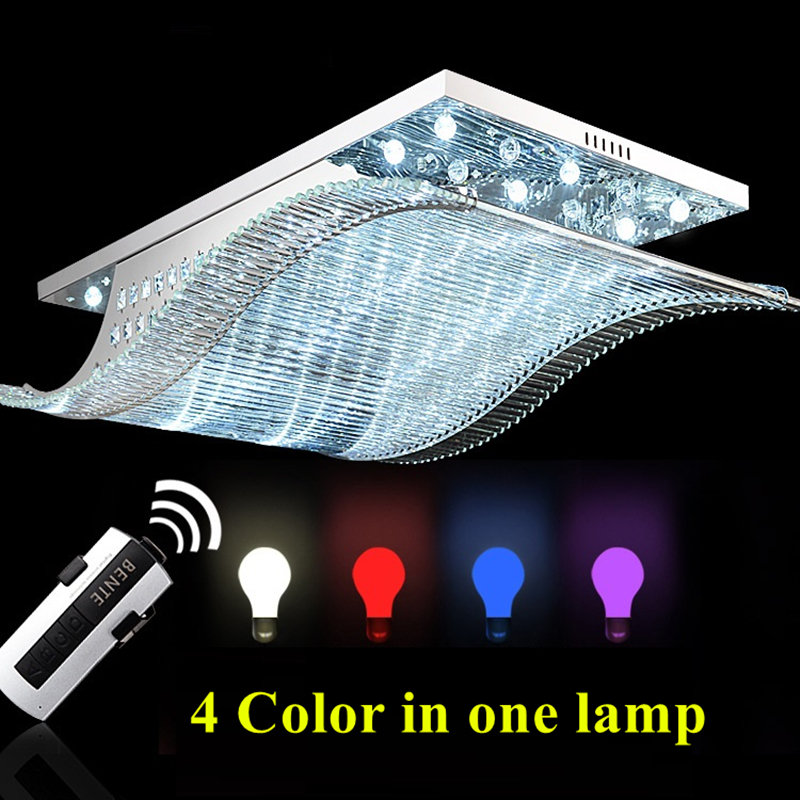 Modern Remote Control LED K9 Crystal Chandelier Lights For Livingroom Bedroom Lighting Stainless Smooth Sailing Ceiling Fixtures