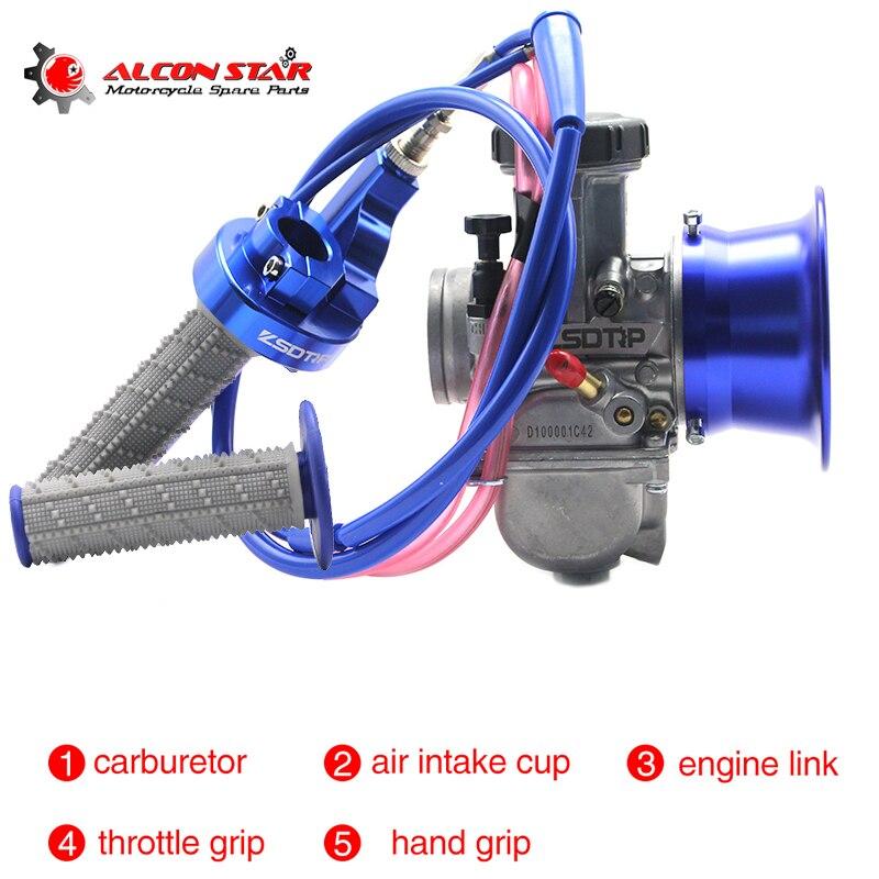 Alconstar-34 36 38 40 42mm PWK moto carburateur avec coupe-vent, poignées 2 T/4 T ATV UTV Off Road café Racer