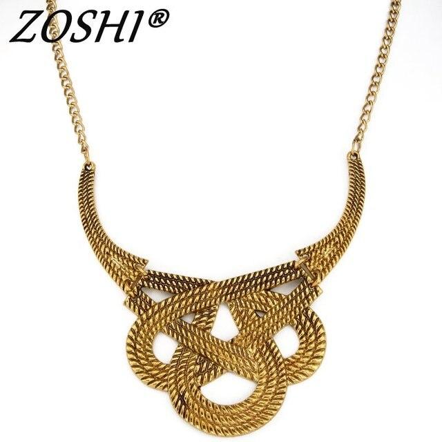 Poder ZOSHI Bohimian Colar Collar Chocker Colar de Ouro Vintage Declaração Étnica Cigana Maxi Colar de Jóias Para As Mulheres Presente