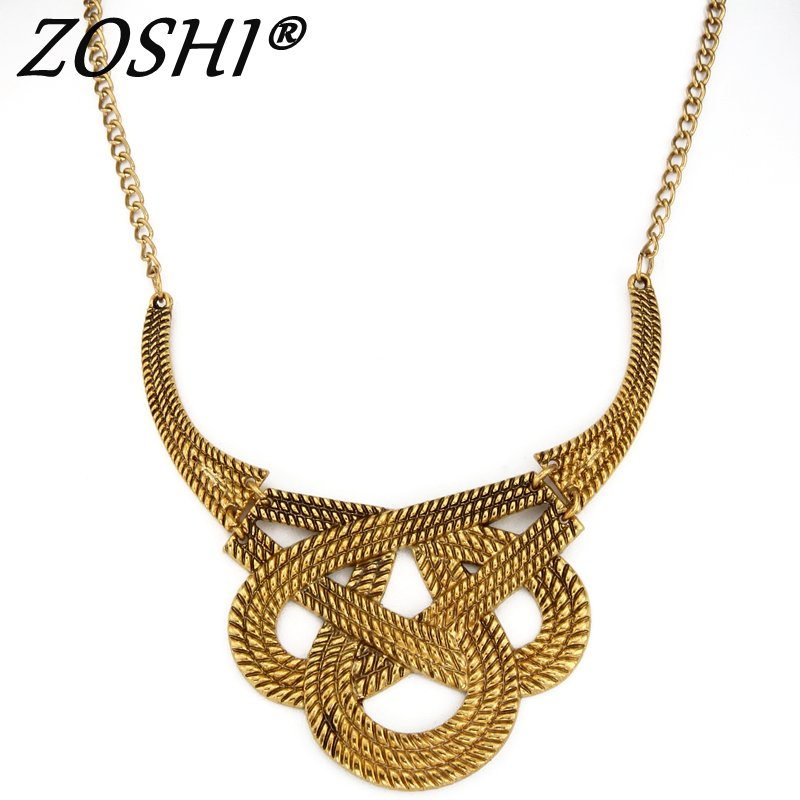 ZOSHI Bohimian Power Necklace Collar Chocker Gold Necklace Vintage Gypsy Ethnic Statement Necklace Maxi Jewelry For Women Gift