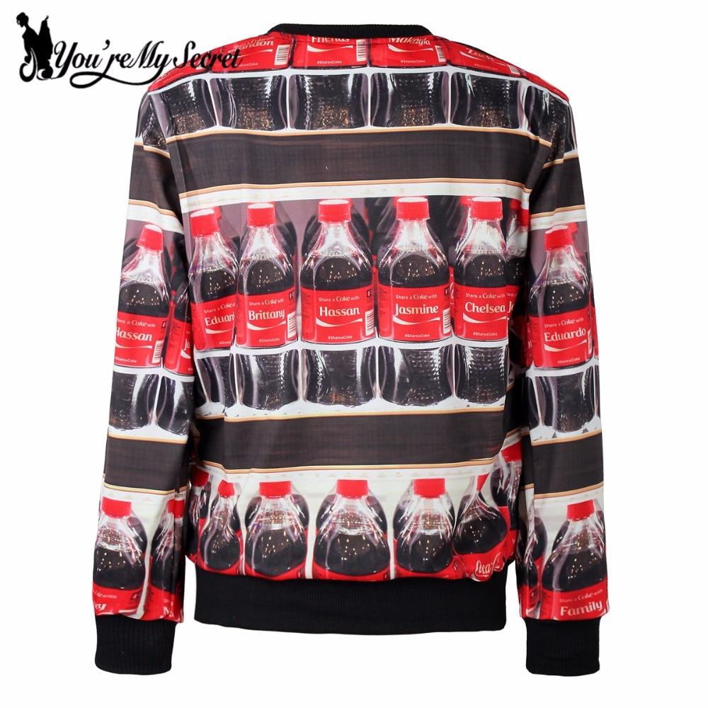 [Youre My Secret]2017 New Autumn Winter Women Hoody Long Sleeve 3D Digital Printed With Coke Women Sweatshirt Casual loose Suit