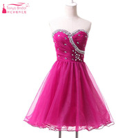 Hot Pink Short Homecoming Dress Organza Bling Party Dress vestidos de formatura Sweetheart Pleats 2016  graduation dress Z159