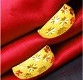 Auténtico 24 k Pendiente de Oro Amarillo/Lucky Estrellas Completos Pendientes de Aro/4.15g
