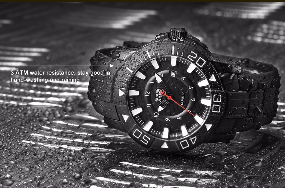 ฉลามกองทัพวูดูครั้งที่สองชุดสีดำสีขาวผู้ชายกีฬา12Hrsแสดงวันที่กันน้ำยางรัดควอตซ์ทหารนาฬิ... 8