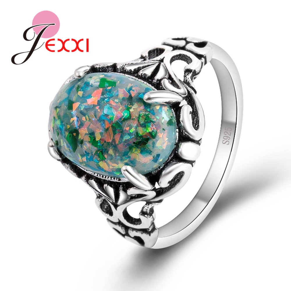 JEXXI Brand New Fashion Vintage Design Green Rainbow Opal 925 Sterling Silver Antique Style Rings Jewelry For Female Women
