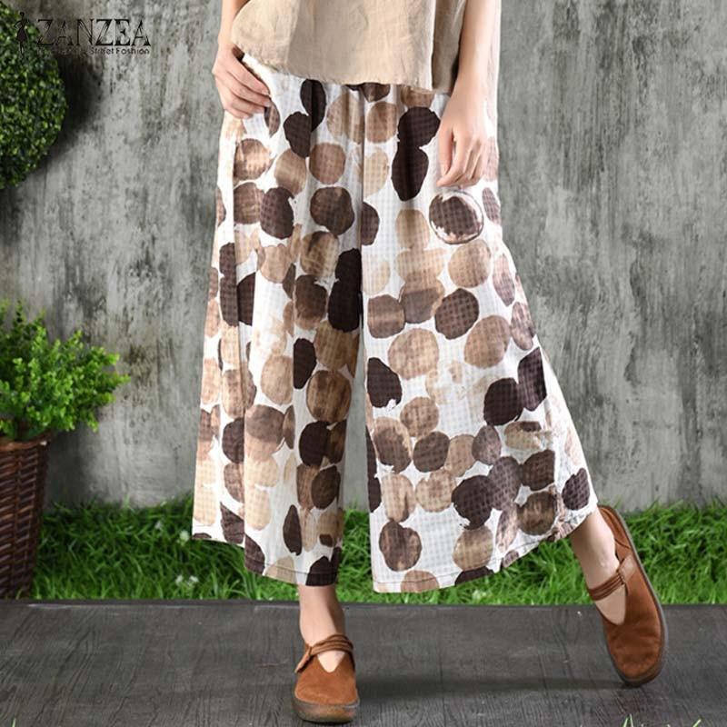 Women's Casual Polka Dot Printed   Wide     Leg     Pants   2019 ZANZEA Summer Trousers Plus Size Elastic Waist Pantalon Cropped Trousers