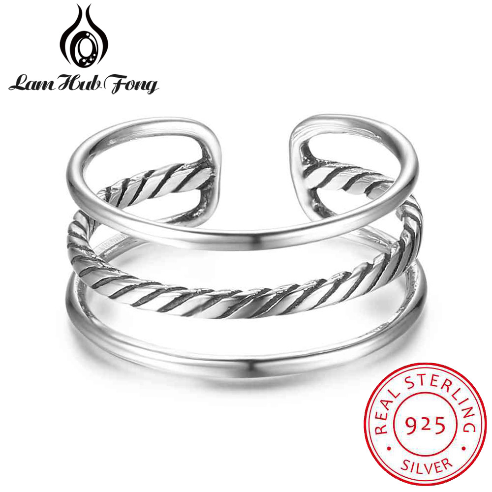 Real 925 Sterling Silver Triple Layers Adjustable Rings for Women Wedding Pure Silver Female Finger Ring Jewelry (Lam Hub Fong)Real 925 Sterling Silver Triple Layers Adjustable Rings for Women Wedding Pure Silver Female Finger Ring Jewelry (Lam Hub Fong)
