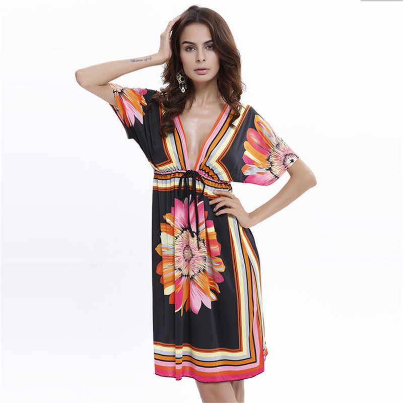 2019 летнее Гавайское Пляжное Платье женское с v-образным вырезом с коротким рукавом Свободные сексуальные платья горячая распродажа Новое Брендовое женское платье GD1307