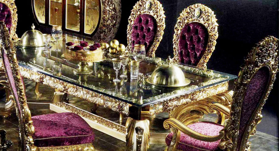 European Style Luxury Imperial Wood Carved Golden Dining