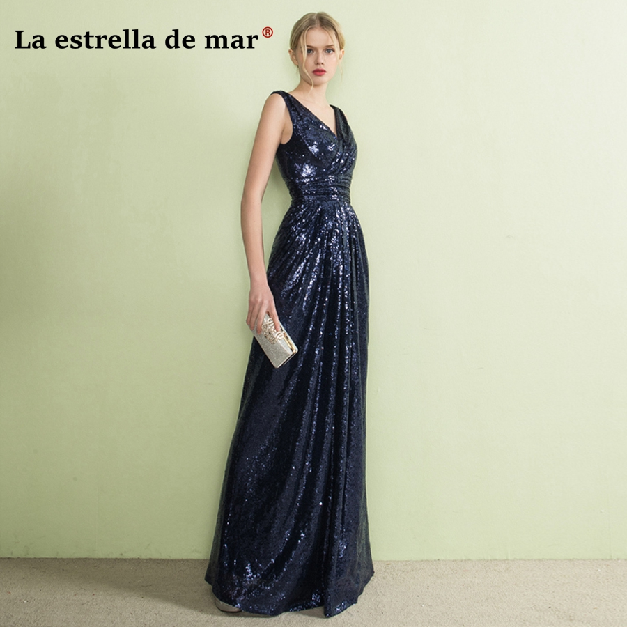vestido de festa longo para casamento 2018 new V neck back with sexy mermaid rose gold navy blue sequins   bridesmaid     dresses