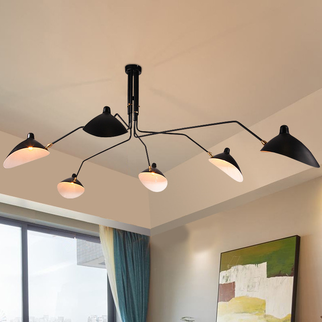 Modern Home Nordic 3 6 Arms Serge Mouille Ceiling Lights Duckbill Replica Rotating Dining Room