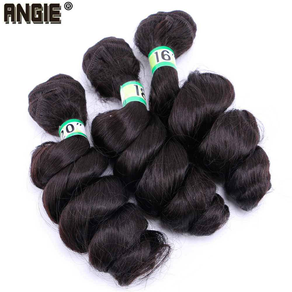 ANGIE Black Loose Wave Hair Bundles 16-20 inch pure Color Synthetic Weave Big Curly Wavy Extensions for Black Women