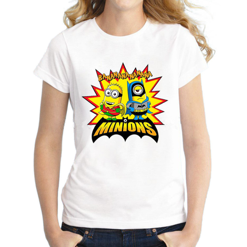 Asian Size Funny Banana-Minions Women T-shrit Short Sleeve Slim Tee Shirts For Girls Hipster Minions Cool Lady Tops