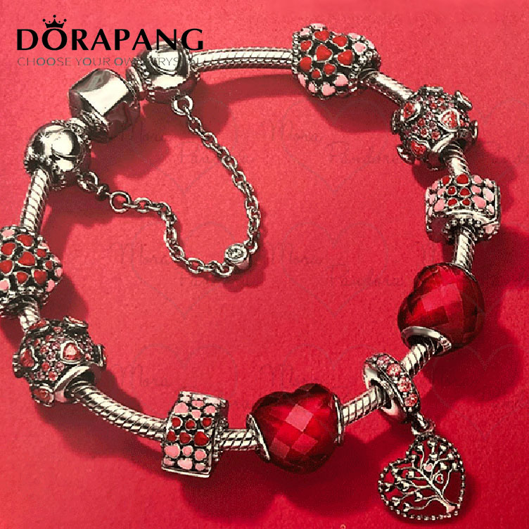 DORAPANG 2018 Valentine's Day Newest 100% 925 Sterling Silver Bracelet Red Heart shaped Charm Bead for Women of Fashion Jewelry цена